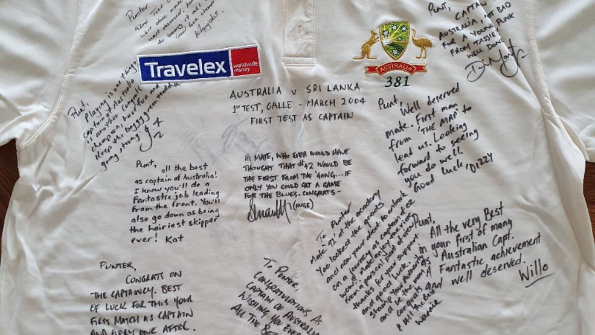 Ricky Ponting shares throwback picture of signed shirt after debut match as Test captain