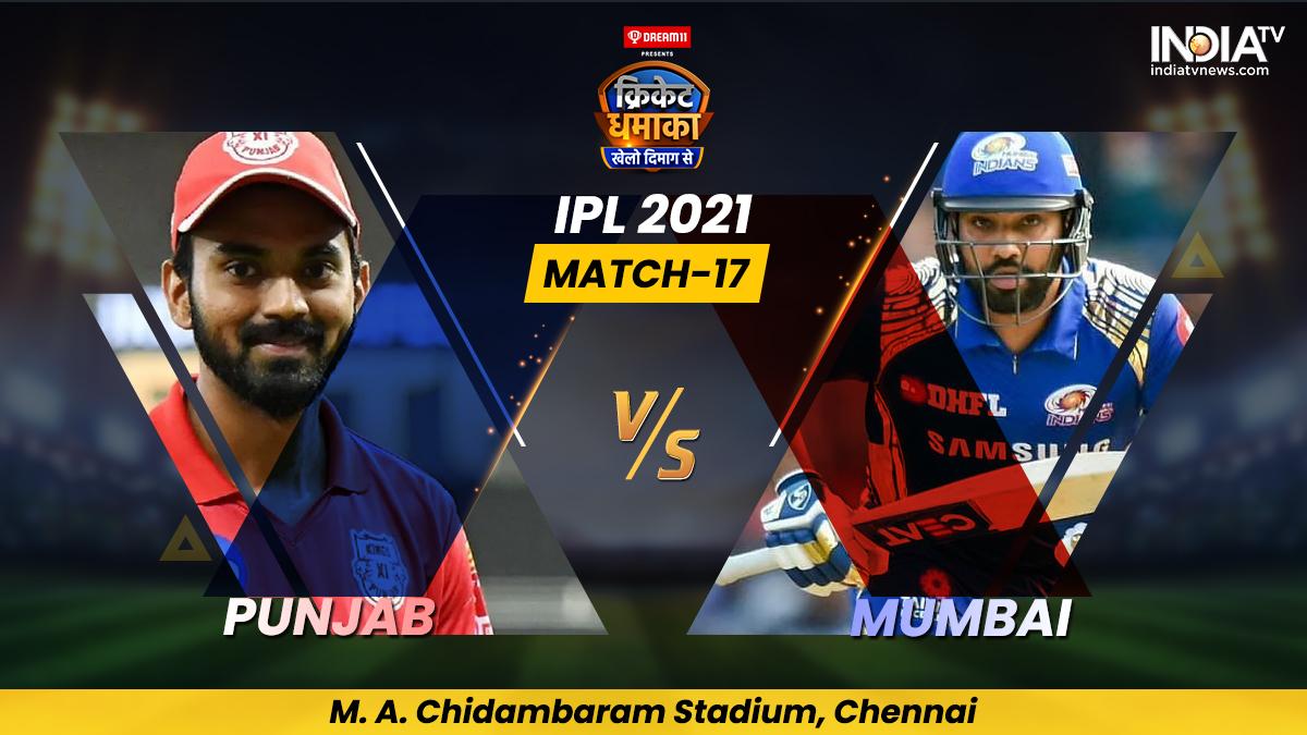 Live Cricket Score, Match 17, PBKS vs MI: Follow Live score and updates from Chennai